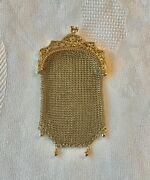 French Antique Chatelaine Coin Purse 18k Gold Mesh Eagle Head