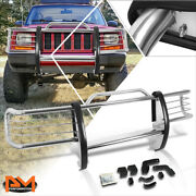 For 84-01 Jeep Cherokee Xj Suv Stainless Steel Bumper Brush Grille Guard Chrome