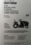 Sears Craftsman 16 Hp 6-speed 42 Lawn Tractor Owner And Parts Manual 917.270670