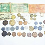 Wwii Ww2 40 Coin Lot France Japan Belgium Sweden China Mexico Silver Paper