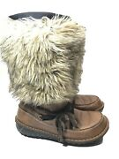Sorel Ahnah Thinsulate Faux Fur And Leather Winter Snow Boots Womenand039s Size 10