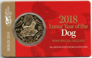 2018 Australian 50 Cent Coin Gold Plated Year Of The Dog Wmf Special Release