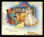 Vintage Christmas Card Victorian Couple Sit By The Fireplace Stockings Hung Used