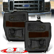 Smoked Amber Head Lights Lamps Lh Rh For 08-10 F250 F350 F450 Superduty Pickup