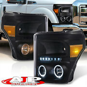 Black Amber Halo Led Projector Head Lights For 2011-2016 F250 F350 Super Duty