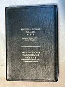 Russian/english Parallel Bible, Black Genuine, Thumb Index, Leather, Synodal/kjv