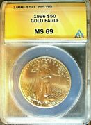 1996 50 1oz Gold American Eagle Anacs Ms 69 Superb Gem Low Mintage Mint State
