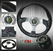 For 88-91 Prelude Jdm 320mm Carbon Steering Wheel Adapter Hub Set + Horn Button