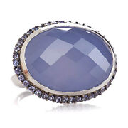 Hsn Rarities Sterling Silver Blue Chalcedony And Tanzanite Ring Size 7