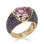 Hsn Jean Dousset 6.88 Ct Pink Sapphire And Amethyst Solitaire Ring Size 7