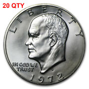 20 1972 S Eisenhower Ike 40 Silver Dollar 1 Brilliant Uncirculated Lot Of 20