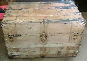 Antique Steamer Trunk Storage Wood Metal Flat Top Very Weathered Patina 28 X 18