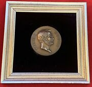Abraham Lincoln Bronze 3 Coin Framed With Velvet Backing, Etching By Morgan