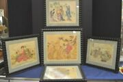 Five Elyse Ashe Lord Chinese Or Japanese Style Colored Etchings Or Drypoints
