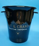Vtg Moet And Chandon Black Metal Faucogney Nectar Imperial Vogalu Ice Bucket 70310