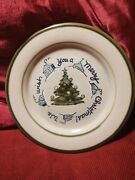 Vintage Louisville Stoneware Ky 9 We Wish You A Merry Christmas Tree Plate
