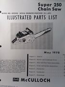 Mcculloch 250 Chain Saw Parts Manual Chainsaw Gasoline Engine 2-cycle 1970