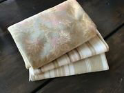 Antique Vintage French Fabrics Coordinated Bundle For Projects Floral Ticking