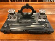 Vintage Black Marble Soap Stone And Crystal Double Ink Well 12 3/4 W X 8 3/4 D