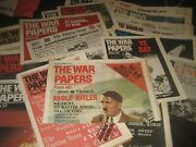 Job Lot Vintage The War Papers World War 2 / 4 X Folders Total 88 Newspapers