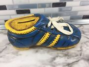 Vintage Enesco Ceramic Football Soccer Cleat Shoe Coin / Piggy Bank Blue Yellow