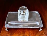 Refined Lionel Alfred Crichton English Sterling Silver Inkwell With Pen Tray