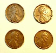 1909 Vdb Lincoln One Cent Wheat Penny Lot Of 4 Au/xf