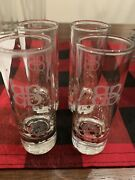 Baileys Irish Cream 4 Tall Shot Glasses Etched Bb Logo And Gold Dots - Set Of 4