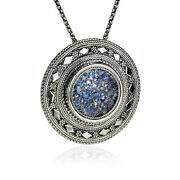 New Sterling Silver Roman Glass Pendant Pin Brooch Filigree Large Round Necklace
