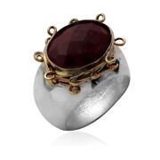925 Brushed Sterling Silver Ruby And Gold Filled Wire Ring