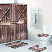 4 Piece Rustic Shower Curtain Sets With Non-slip Rugs Toilet Lid Cover And Bath