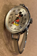Rare Collectible Stainless Steel Swiss Made Mickey Mouse Bracelet Watch Works