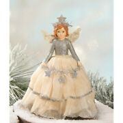 Bethany Lowe Christmas Silver Angel Tree Topper Vintage Look Free Shipping