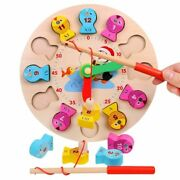 Baby Education Wooden Toy Fishing Game Clock Numbers Gadgets Interesting Gift