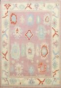 Vegetable Dye Handmade Geometric Floral Authentic Oushak Turkish Area Rug 8and039x10and039