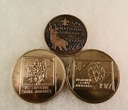 Three - National Boy Scout Jamboree - Official Bronze Coins - 1969 1973 1979
