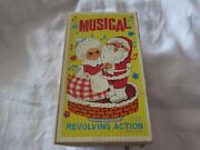 1960s Revolving Musical Santa And Mrs. Claus Figurine Chimney Top Orig Box Works