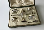 French Sterling Silver Gilded 4 Open Salt Cellars 3 Spoons And Peper Shaker 8/ps