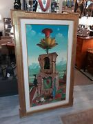 Exceptional Large Surrealist Painting W/ Fine Vintage Picture Frame