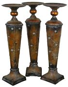 Set Of 3 Distressed Torchiere Pedestal Candle Stands Candle Holders Contemporary