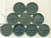 9 Different 25 Cent Coins From Barbados 1978/81/90/94/2000/03/04/08/11
