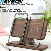 Keysion 5 Coil Dual Wireless Qi Fast Chargerand Stand For Iphone,samsung Universal
