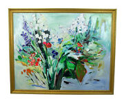 Huge Vintage Modern Abstract Bouquet Of Flowers Still Life Painting Signed Devy