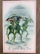 Victorian Happy New Year Card Anthropomorphic 3x Frogs/smoking/top Hats/ C.1890