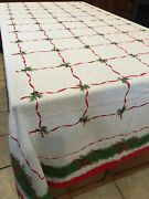 Vtg Red Green Holly Tablecloth 59x100 And 12 Napkins White Red Ribbons
