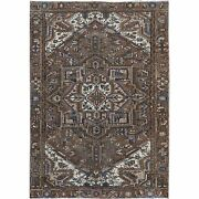 7and0392x10and0394 Brown Semi Antique Clean Farsian Heris Wool Hand Knotted Rug R60138