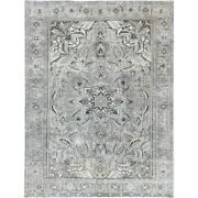 8and0393x11and039 Vintage Flower Design Washed Out Farsian Heris Hand Knotted Rug R60148