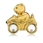 Chopard 18k Yellow Gold Happy Diamonds Vintage Bear On Bicycle Pin Brooch