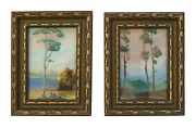 Miniature Pair Of American Impressionist Framed Landscape Paintings - Circa 1900