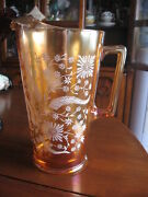 Carnival Pitcher Vase Orange And White W/ Flowers Jeannette Glass